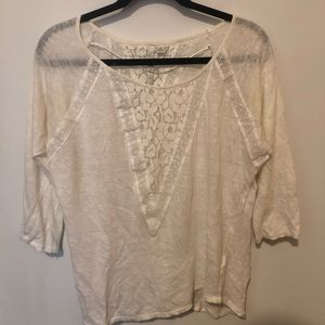 White long sleeve top with lace detail